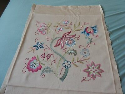 "Vintage Floral crewel work panel - Fabulous needlework lovely colours 22"" x 19"""