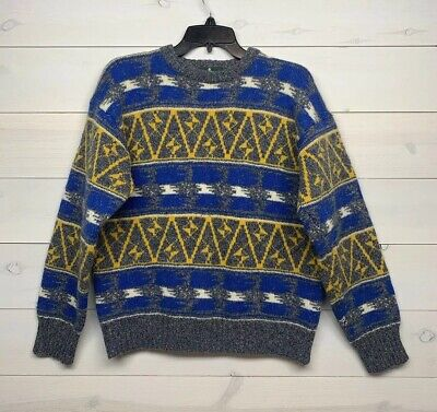 e3f37ed1a277 Hunt Club Mens Vintage Pullover Sweater Size Medium Wool Blend  Yellow Blue Gray