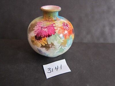 Antique Royal Bonn 4 inch Round Vase Hand Painted Flowers 1755 marking