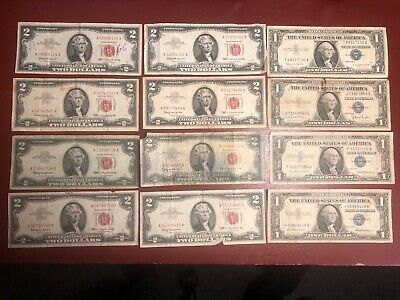 $2 Dollar Red Seal Certificate Notes (8) & $1 Dollar Blue Seal Certificates (4)