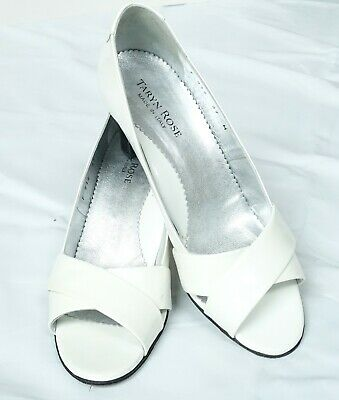 6a7730784c1 Excellent Taryn Rose White Patent Leather Cross Strap Open Toe Heels Shoes  37 7