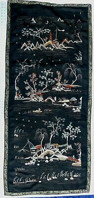 """Large antique Chinese black silk embroidery tapestry 66"""" x 30"""""""