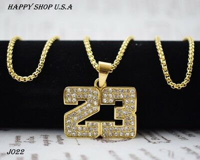 Iced Out Hip Hop Stainless Steel Gold Plated Bling Number 23 Box Chain 3mm'' 24