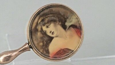 Edwardian 1904 9ct gold miniature mirror with portrait to the reverse R Pringle