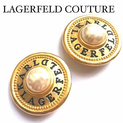 Karl Lagerfeld Chanel R.i.p. Couture Vintage Gold  Pearl Earrings