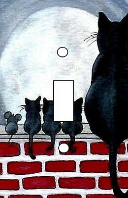 Cat & Mouse Family on a Fence - Decoupage Light Switch Covers - Made to Order