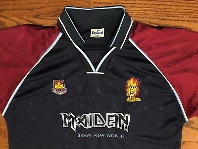 NWOT XL Men s Iron Maiden Cyborg West Ham United Brave New World Tour Jersey f7814df90