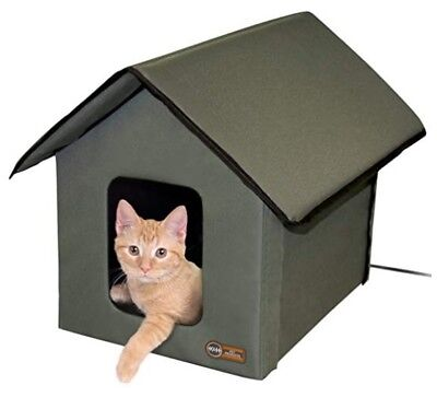 Heated Outdoor Kitty House Feral Community Cat Winter Shelter K&H Pet Products