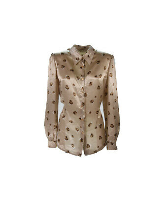 LUISA SPAGOLI Camicia Shirt T-shirt Blouse Beige TG S Donna
