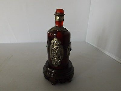 Old Chinese Amber Glass Glass Snuff Bottle on Stand Qian Long Mark