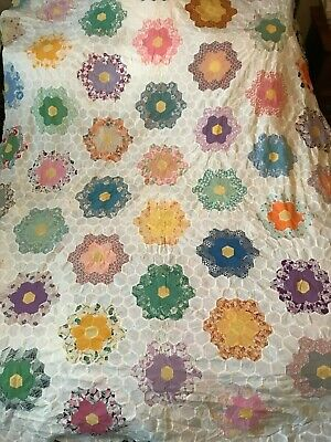 Vintage Antique Grandmother's Flower Garden Hand Pieced Beautiful!  Feedsacks