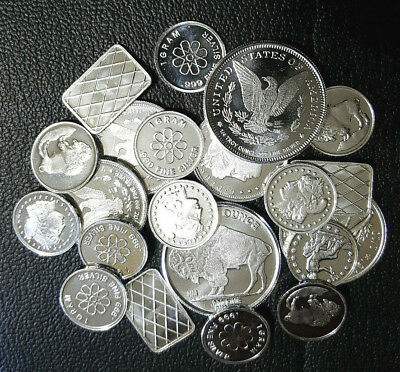 Mix Lot of 21 pcs. Modern Silver Bullion Rounds/Bars .999 Fine Solid Pure Silver