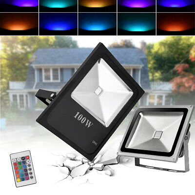 RGB LED Floodlight 10-100W Spotlight Remote Memory Dimmable Outdoor Garden IP65