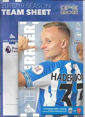 Huddersfield Town v Arsenal Premier League 2018/19 with official teamsheet