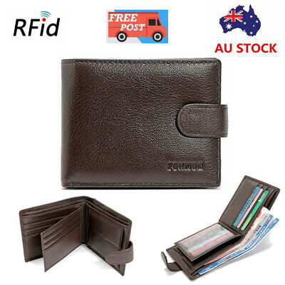 Mens RFID Blocking Genuine Leather Wallet Slim Purse Bifold Credit Card Holder