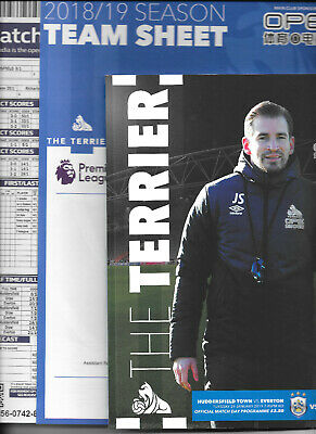 Huddersfield Town v Everton Premier League 2018/19 with official teamsheet