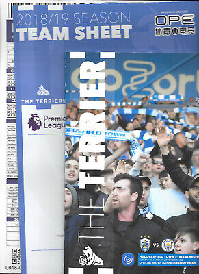 Huddersfield Town v Man City Premier League 2018/19 with official teamsheet