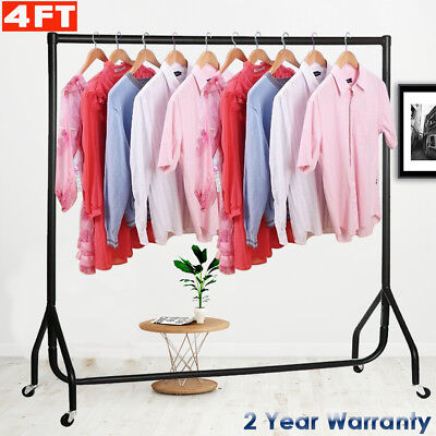 4FT Garment Clothes Rail Metal Heavy Duty Rack Home Shop Hanging Display Stand