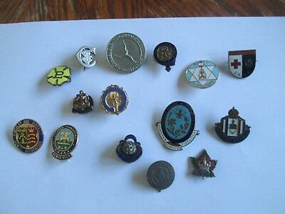 job lot of various enamelled badges pins, mainly British, religious, sports