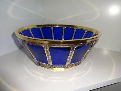 Moser Cobalt Blue and Gold 14 Panel Bowl Czech Bohemian Gilded Crystal Glass