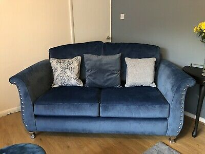 Stunning Sumptuous Blue Velvet Sofa And Unusual Beige Cuddle Chair Must Be Seen