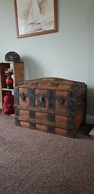 Antique Large Dome Top Victorian Steamer Trunk Travel Chest Wood & Metal