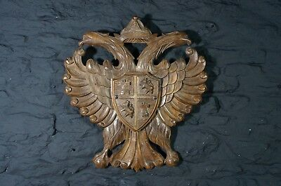 Antique Carved Wooden Heraldic Wall Shield ~ Byzantine Double Headed Eagle