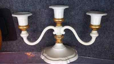 Candleabra Vintage Heavy White & Gold Metal 24 x 14 cms