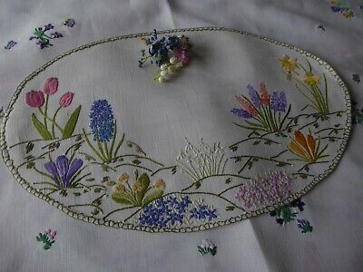 Vintage Hand Embroidered Tray Cloth - Beautiful Spring Flowers