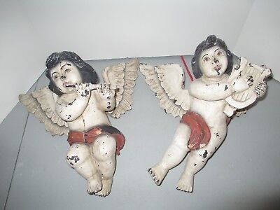 Pair Of Vintage Hand Carved Polychrome Putti Cherups W/musical Instruments