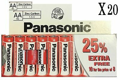 20 x AA Genuine PANASONIC Zinc Carbon Batteries - New R6 1.5V Expiry 2021