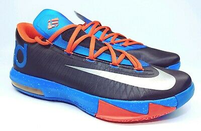 the best attitude 3173d 2a4e2 Nike KD 6 VI OKC Thunder Away 599424-004 Team Orange Photo Blue Men s