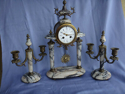 Antique Japy Freres Gilded Marble Mantel Set With Candelabras Chime