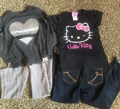 4PC LOT GIRLS 2 OUTFITS SIZE 6/6X Jeans Leggings Tops. Carters hello kitty +++