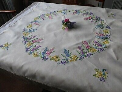 Vintage Hand Embroidered  Tablecloth -Stunning Flower Circle - 95% Completed