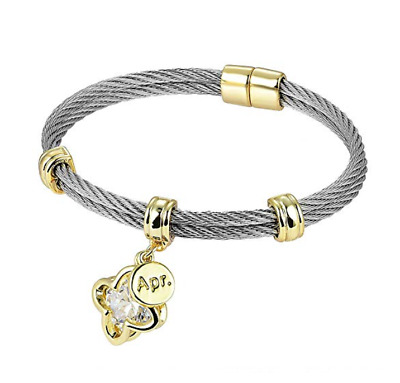 """Premier Birthstones"" Beautiful Twisted Cable Bangles ""APR"" White Luxury Packagi"