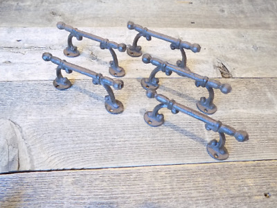 5 Handles Rustic Cast Iron Antique Style Barn Gate Pulls Drawer Door Shed Fence