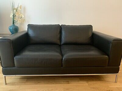 Ikea Arild 2 Seater Black Leather Sofa Excellent Condition