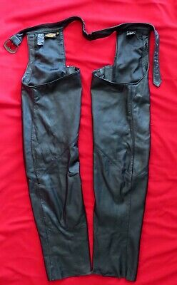 Women's HARLEY DAVIDSON Motorcycle Black LEATHER RIDING CHAPS, Sz Small, Buckle