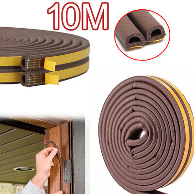 10M Draught Draft Excluder Self Adhesive Rubber Door Seal Tape D Shape UKES