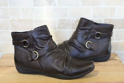 bb71da91818d Brown Faux Leather Flat Ankle Boots Size 8   42 Wide Fit By Footglove