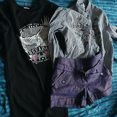 Gorgeous Girls Party Shorts, M&S Signature, purple gold metallic, Size 11 years