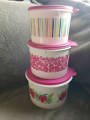 Tupperware 3 pc. Pink Lid Canister Set