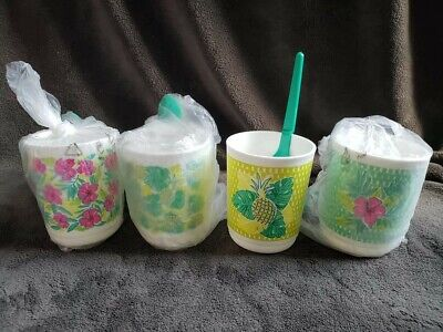 Tupperware 4-pc Summer Tropical Glamour Mugs with Spoons Set 11 ounce