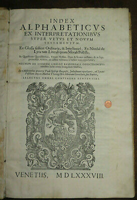 Grande Cinquecentina In Folio Index alphabeticus ex interpretationibus supe