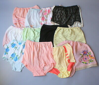 1950s High Waist Panty Lot Lace Ruffles Nylon Lot of 12 Pair Vintage Panties