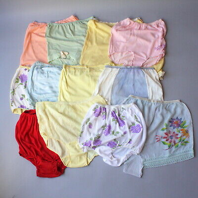 1950s High Waist Panties Lot of 12 Pair Panty Rayon Nylon Elastic Lace 1940s 50s