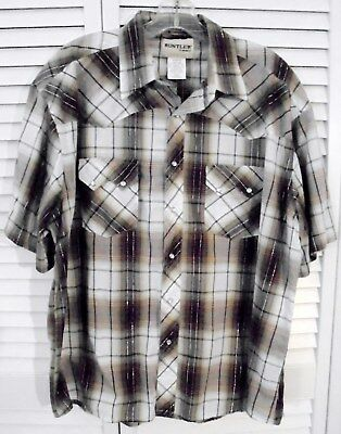 Rustler by Wrangler Silver Thread Plaid Western S/S Sawtooth Pearl Snap Shirt XL
