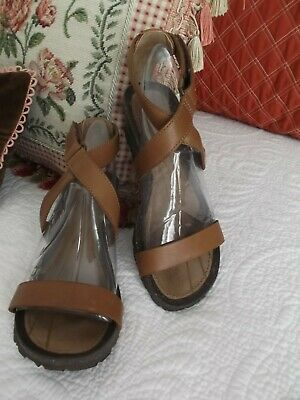 86bc3fc2625f Teva  Cabrillo  Brown Leather Crossover Wedge Sandals - Size 37 6 - AWESOME