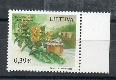 Stamps - Lithuania - Flowers - Cucumbers - Honey - 2016 -